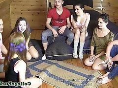 Cumshot, Group Sex, Teen, Student